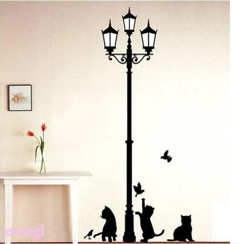 1 X Black Cat Design Picture Art Peel U0026 Stick Wall Sticker DIY Vinyl Wall  Decal