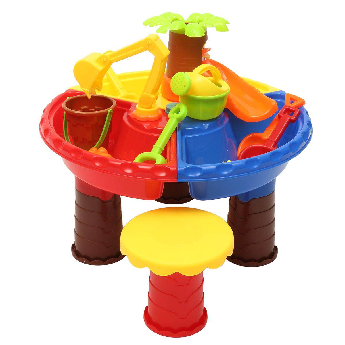 Kids Sand&Water Activity Child Play Table Stool Fun Outdoor Sandpit Toys Set