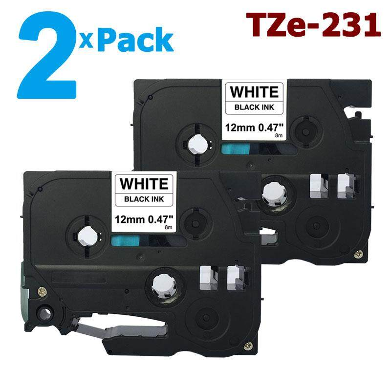 2PK TZ325 TZe325 White on Black Label Tape for Brother P-Touch PT-E100 9mm 3//8/""