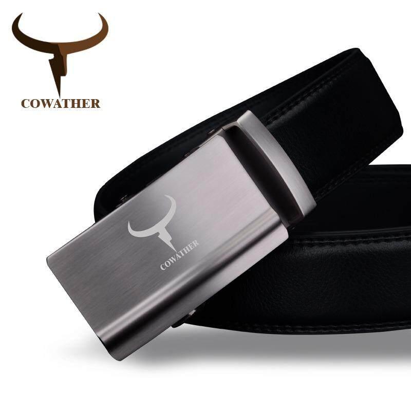 Cowather Pria 100% Kulit Sapi Ratchet Gaun Sabuk Otomatis Gesper Tali Pinggang Sabuk untuk Pria Lelaki Automatik Gancu Tali pinggang-Internasional