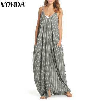 VONDA ผู้หญิงขนาดใหญ่ฤดูร้อน Beach PARTY เซ็กซี่หลวมแขนยาวชุดเดรสแม็กซี่-