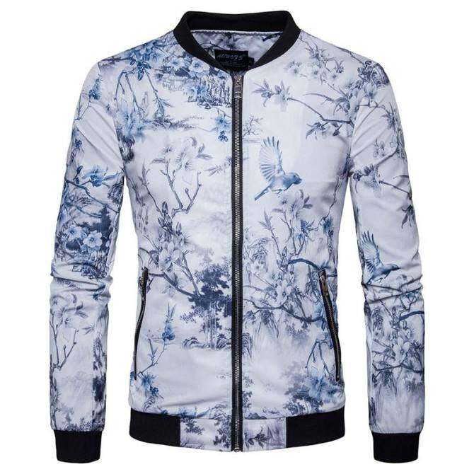 HOT Fashion High-end Chinese Style Printed Men's Jacket(white)