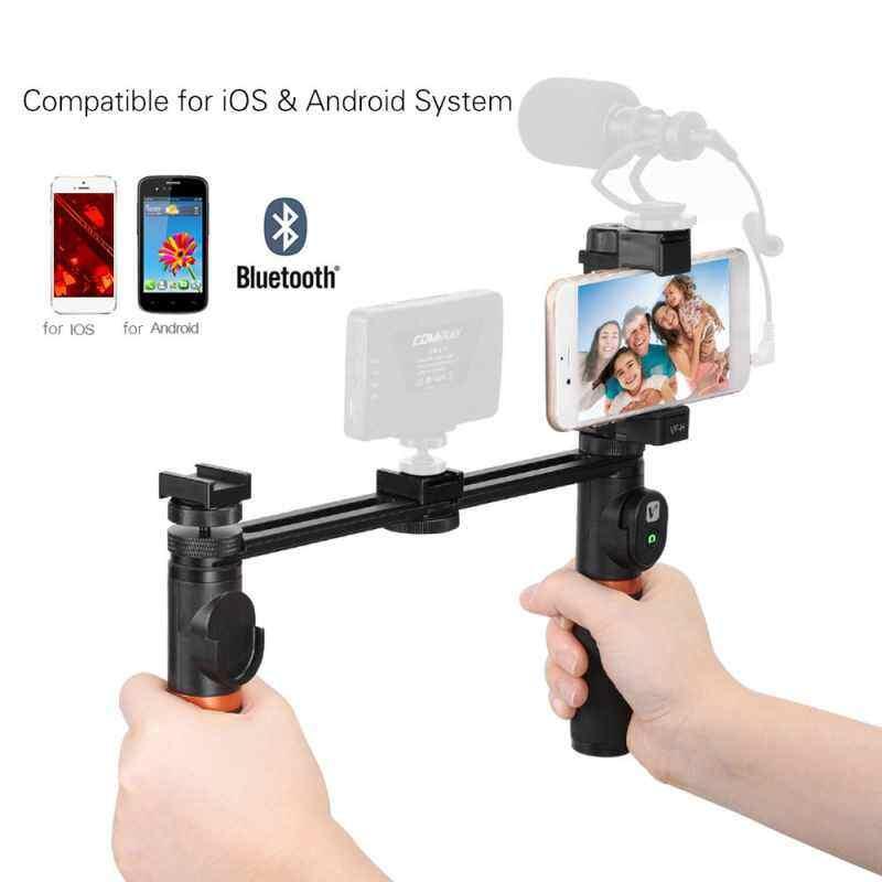 Finemall Viewflex VF-H5 Smartphone Video Rig Dual Genggam Pegangan Logam Perlengkapan Penstabil dengan Pengendali Jarak Jauh/Dudukan Hot Shoe untuk iPhone X 8 7 6 S plus untuk Samsung Galaxy S8 + S8 Note 3 Huawei