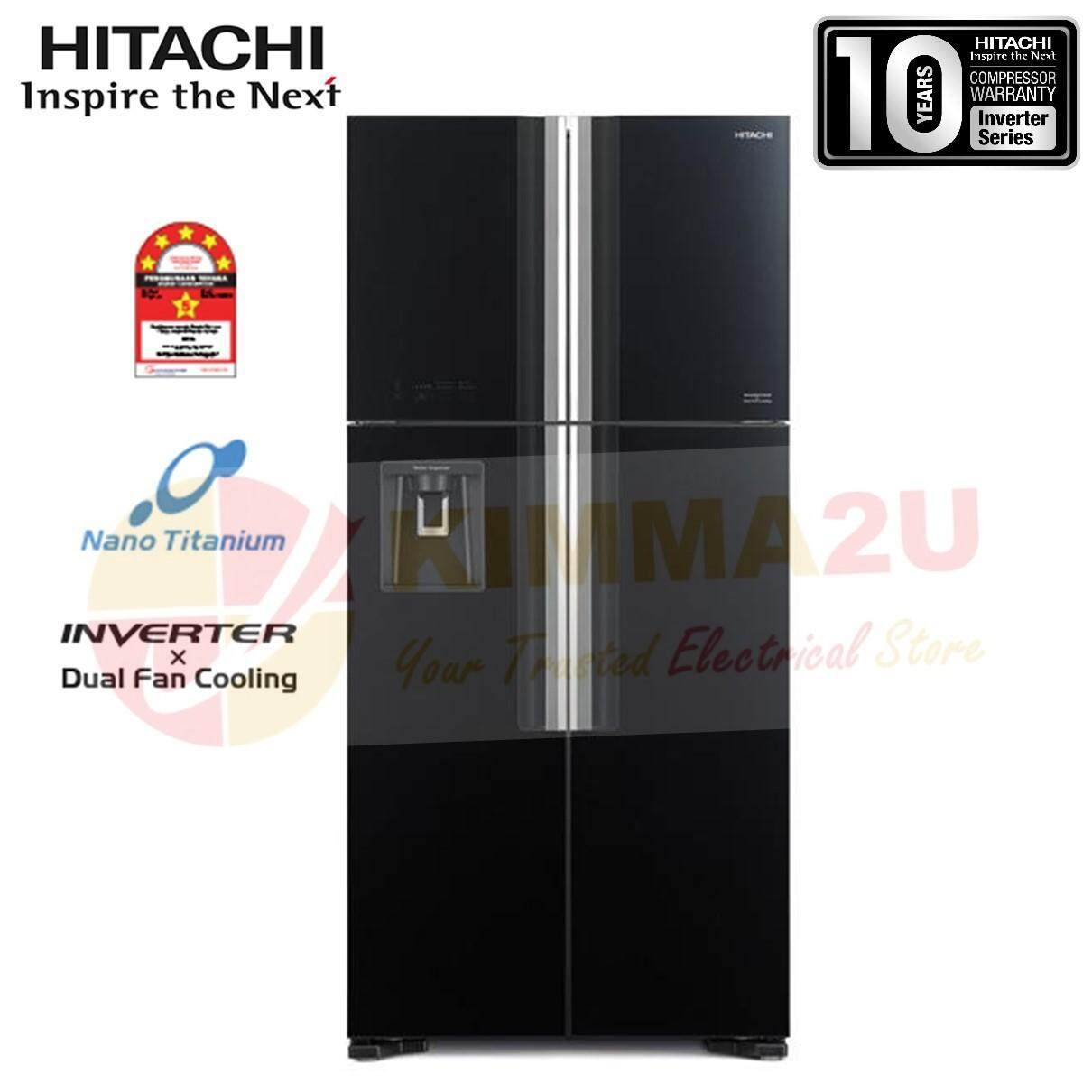 HITACHI JAPAN R-W720P7M GBK 586L INVERTER 4 GLASS DOOR BIG FRENCH REFRIGERATOR *DELIVERY WITHIN KLANG VALLEY ONLY
