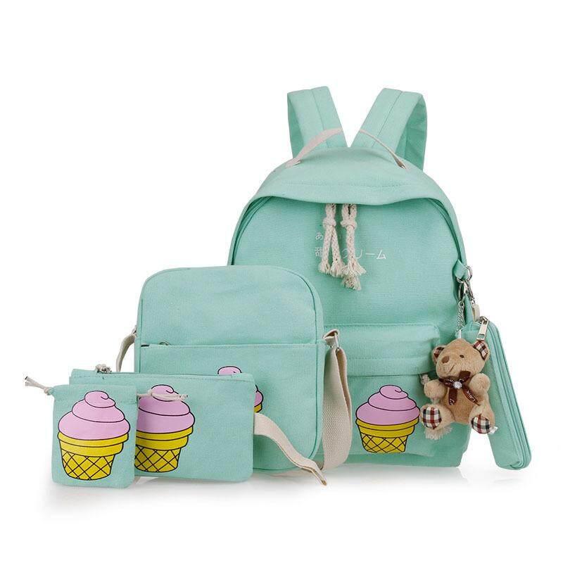 Huohu Girl's Backpack, Sika Deer Pattern Casual Light-weight Canvas Bookbag Shoulder Bags For Preschool, Kindergarten, Elementary School, And Middle School (Blue)