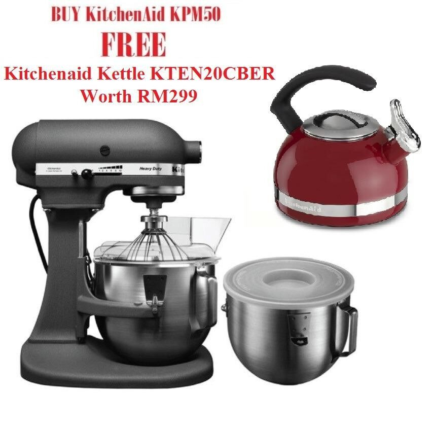 Grey Kitchenaid Mixer: KitchenAid [Free Kettle] 5KPM50 Bowl-Lift Heavy Duty Stand