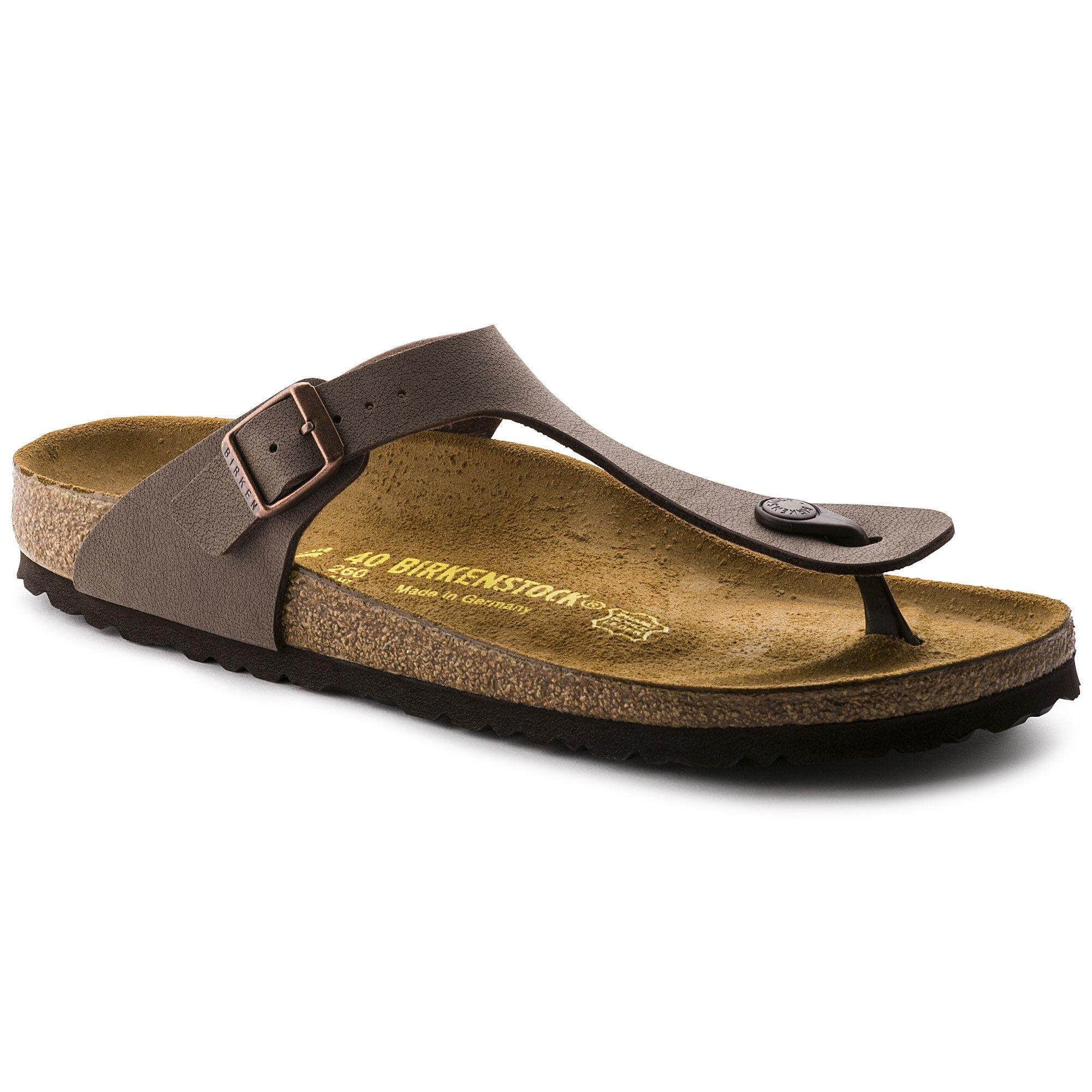 41540bbd3 Birkenstocks Men Sandals Women Thong Gizeh Birko-Flor Nubuck Mocha
