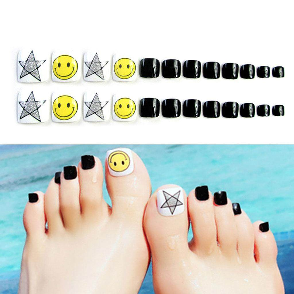 24Pcs DIY Fashion Smile Face Star Black False Nails Acrylic Nail Tips Art
