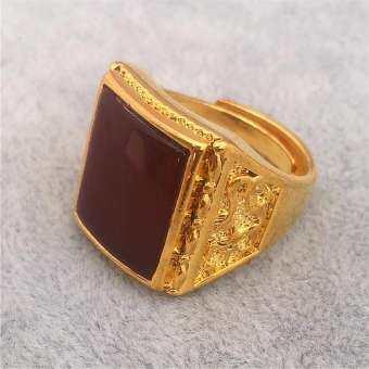 เวียดนาม Gold Placer แหวนสกุลเงินในยุโรปญี่ปุ่นและเกาหลีใต้ใหม่ชุบ 24K หายในที่สุดกลายเป็นสีไม่หลุดลอกอัญมณีแหวนชายความก้าวร้าวสามารถปรับได้