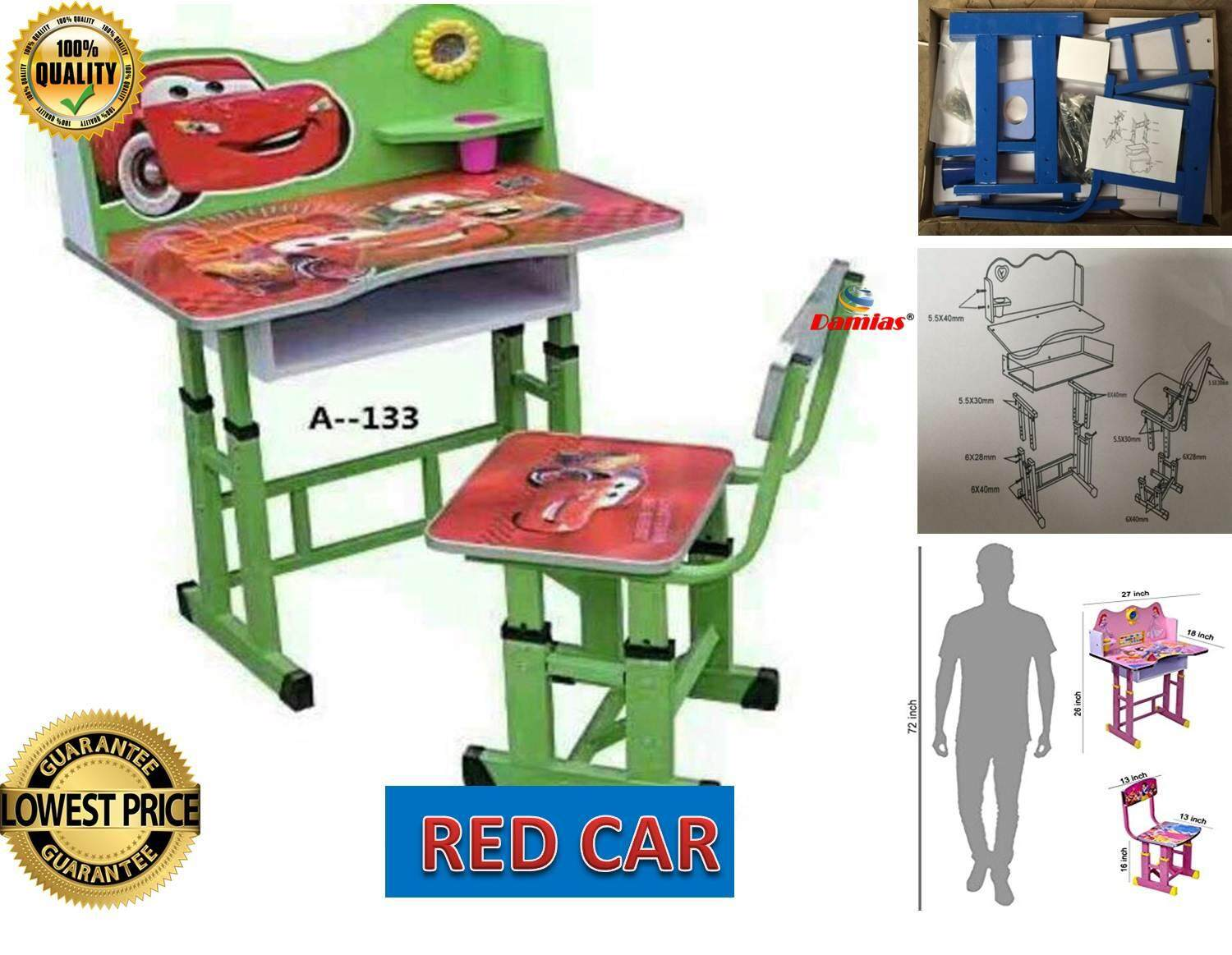 Study Table and Chair Kid Set with Cartoon Theme [ RED CAR ]