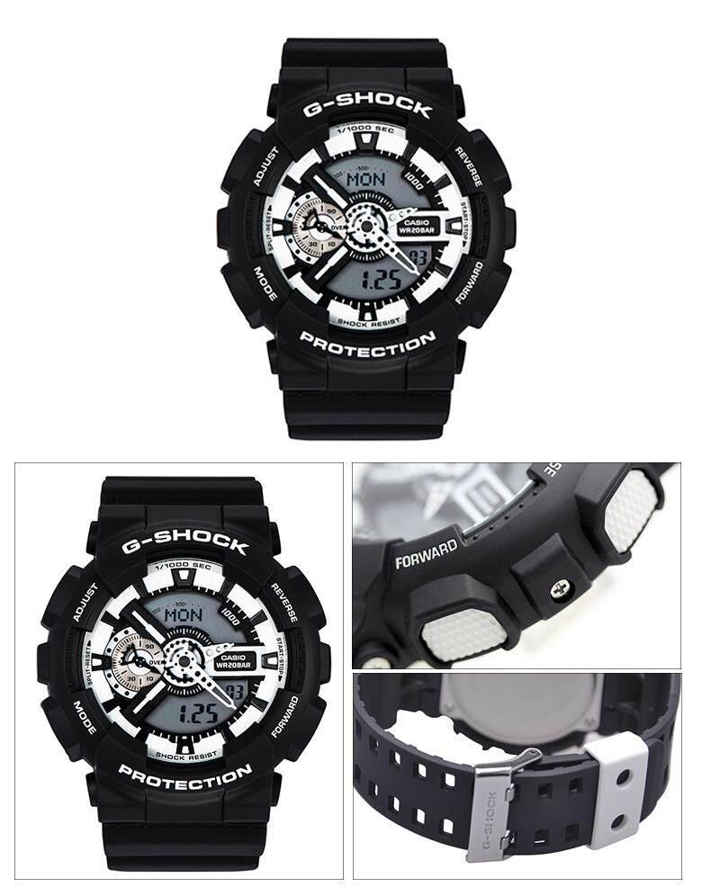 แม่ฮ่องสอน 【 STOCK】Original _ Casio_G-Shock นาฬิกาข้อมือผู้ชายผู้หญิงนาฬิกากีฬาอิเล็กทรอนิกส์ Autolight และนาฬิกาดิจิตอลกีฬาเรซิ่น Man นาฬิกา GA-110BW-1A