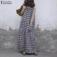 ZANZEA Women Summer Oversize Crewneck Check Pockets Baggy Jumpsuits Culottes Pants