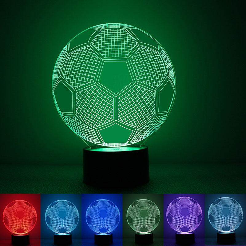 Football 3D Acrylic Lamp 7 Colorful USB LED Night Light Touch Control Decoration Lights Table Lamp Bedroom Light For Sport Lover