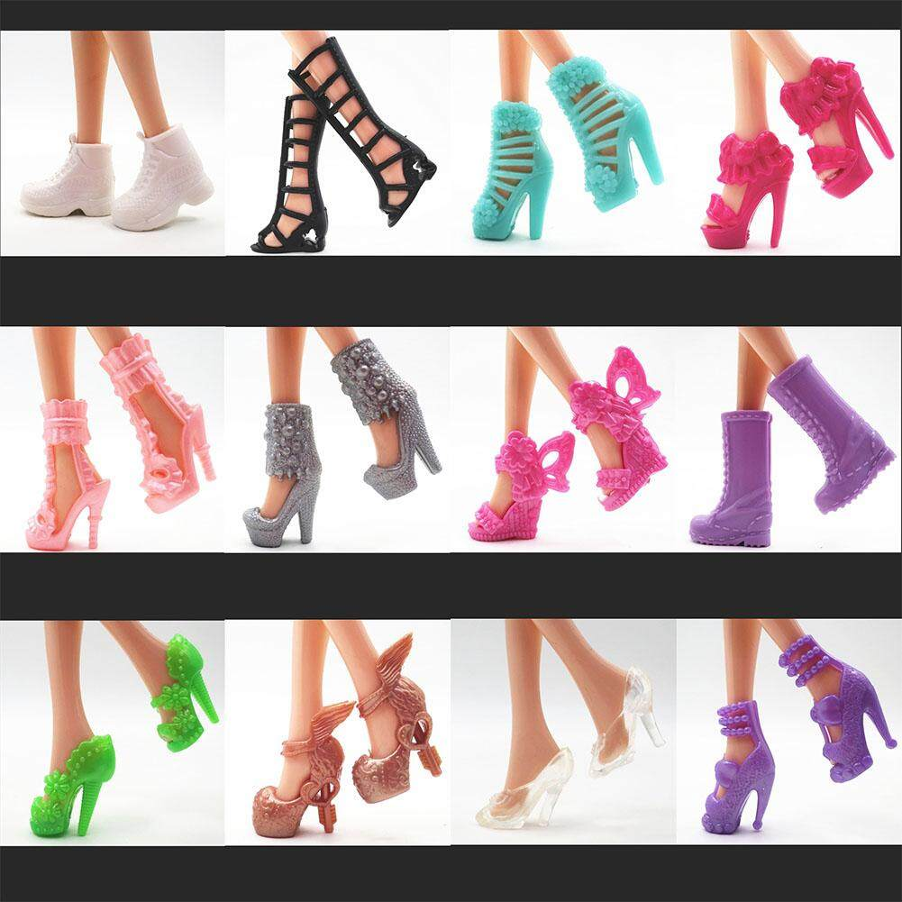 16 Pairs of Different Color Mix Shoes High Heels Fashion Sandals for Barbie Dolls