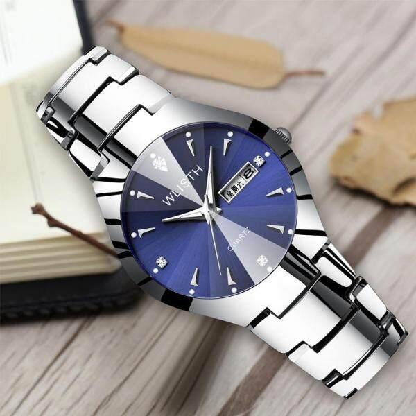 Watches Men Wlisth Men Wristwatches Luminous Tungsten Steel Color Waterproof Fashion Men Wristwatch Male Clock Calendar QUARTZ-Intl Malaysia