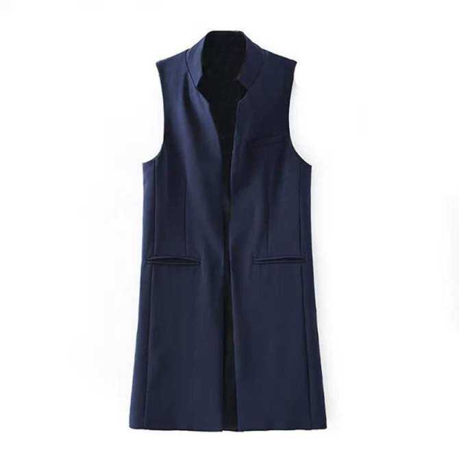 Women s Spring Autumn Brief Stand Collar Vest Slim Long Waistcoat Without Vests M US Cardigan Sleeveless Jacket Sleeves 8 Blue 6