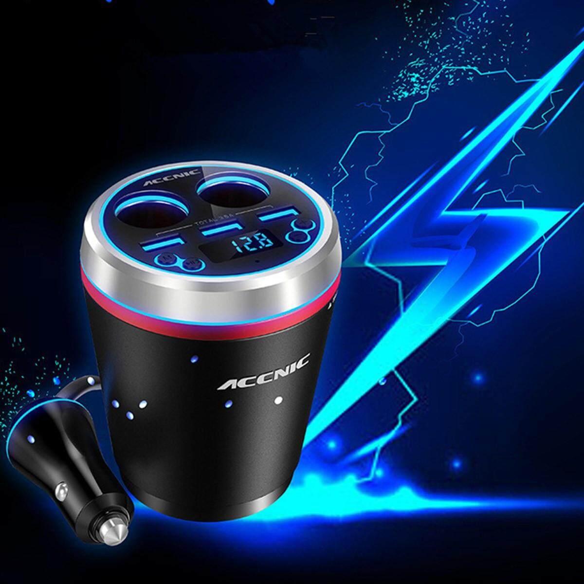 3 Ports USB Charger FM Transmitter Radio MP3 Player bluetooth Car Kit Handsfree #black - intl