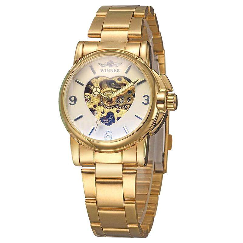 WINNER Women's Skeleton Automatic Mechanical Alloy Analog Watch, Gold
