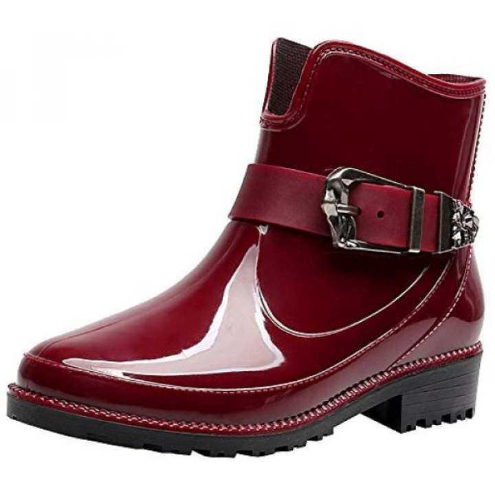 rismart rismart rismart Womens Ankle High Casual Button Snow Waterproof Slip On Rain Boots SN02013(