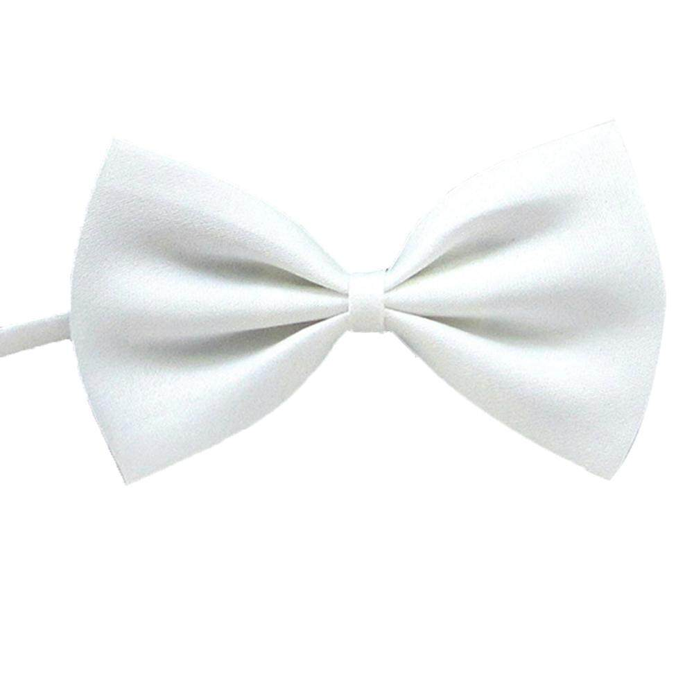 OS Men Classic Solid Color Bow Tie Wedding Party Pre-tied Neckwear white