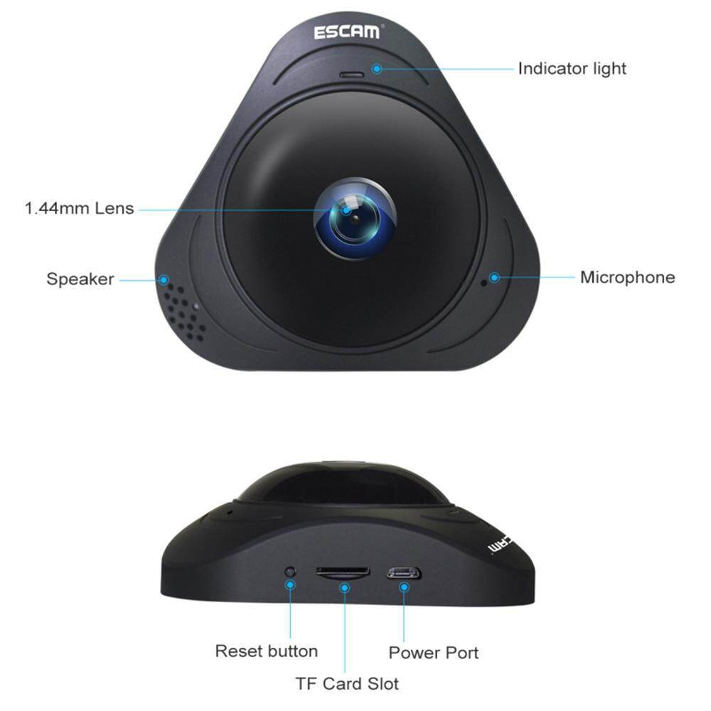 Fortunet Q8 360° Rotating Home Security IP Camera Webcam Fisheye HD 960P Internet IR Night Vision Wifi Wireless Office Monitor...