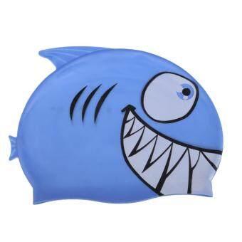 Lovely Children Cartoon Swimming Cap Silicon Waterproof Shark Royalblue (Black)