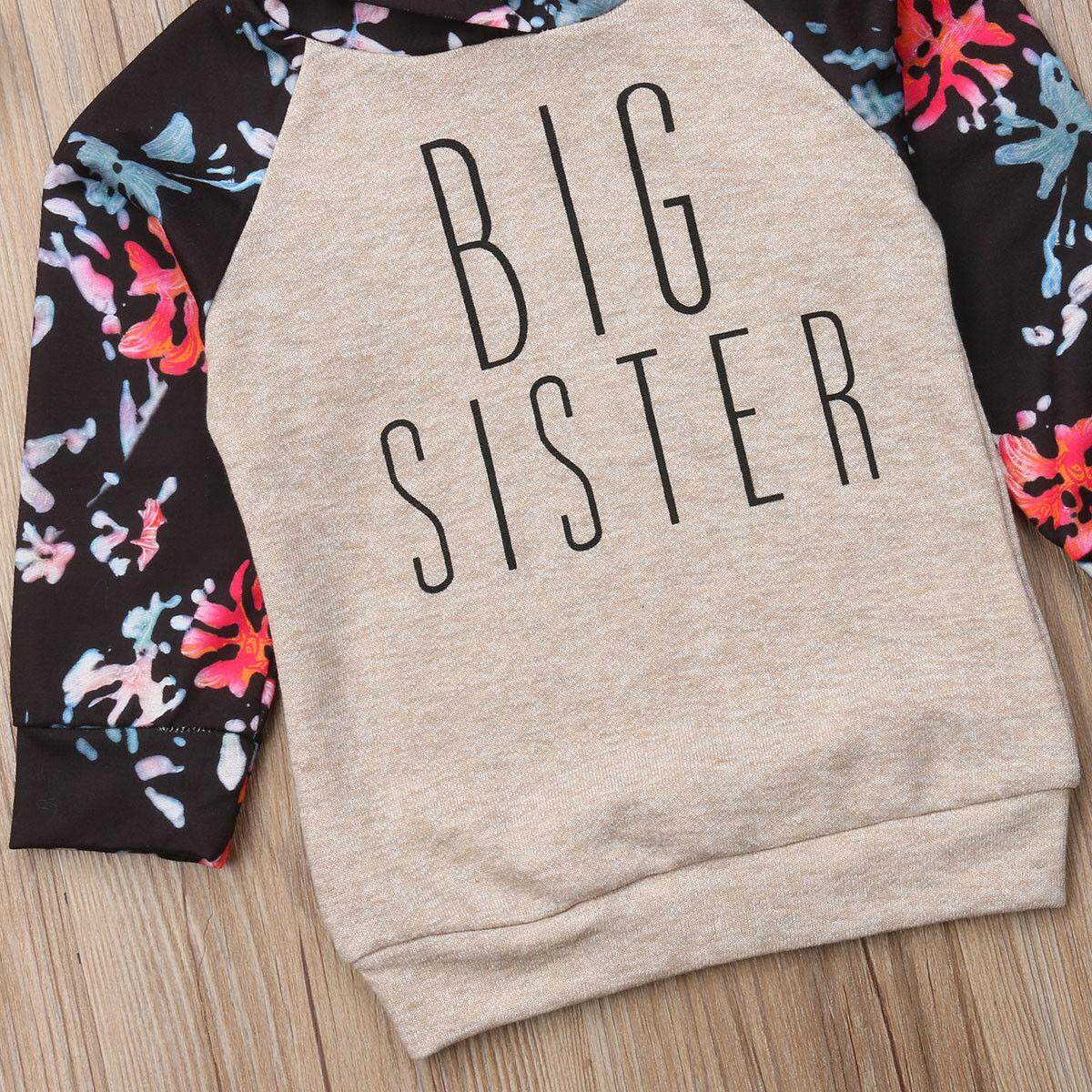 Baby Girl Sister Matching Clothes Long Sleeve Floral Bodysuit Hooded Sweatshirt Top Kids Jumpsuit Romper Outfit