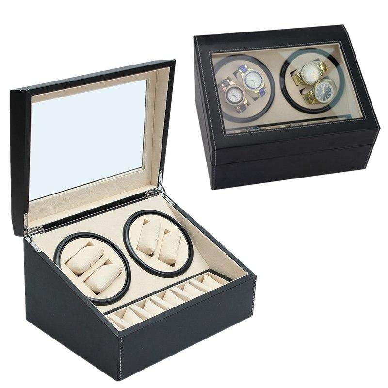 Luxury PU Leather Automatic 4+6 Watch Winder Rotator Storage Case Display Box Malaysia