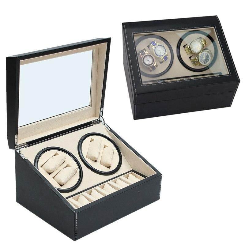 Luxury PU Leather Automatic 4+6 Watch Winder Rotator Storage Case Display Box Malaysia
