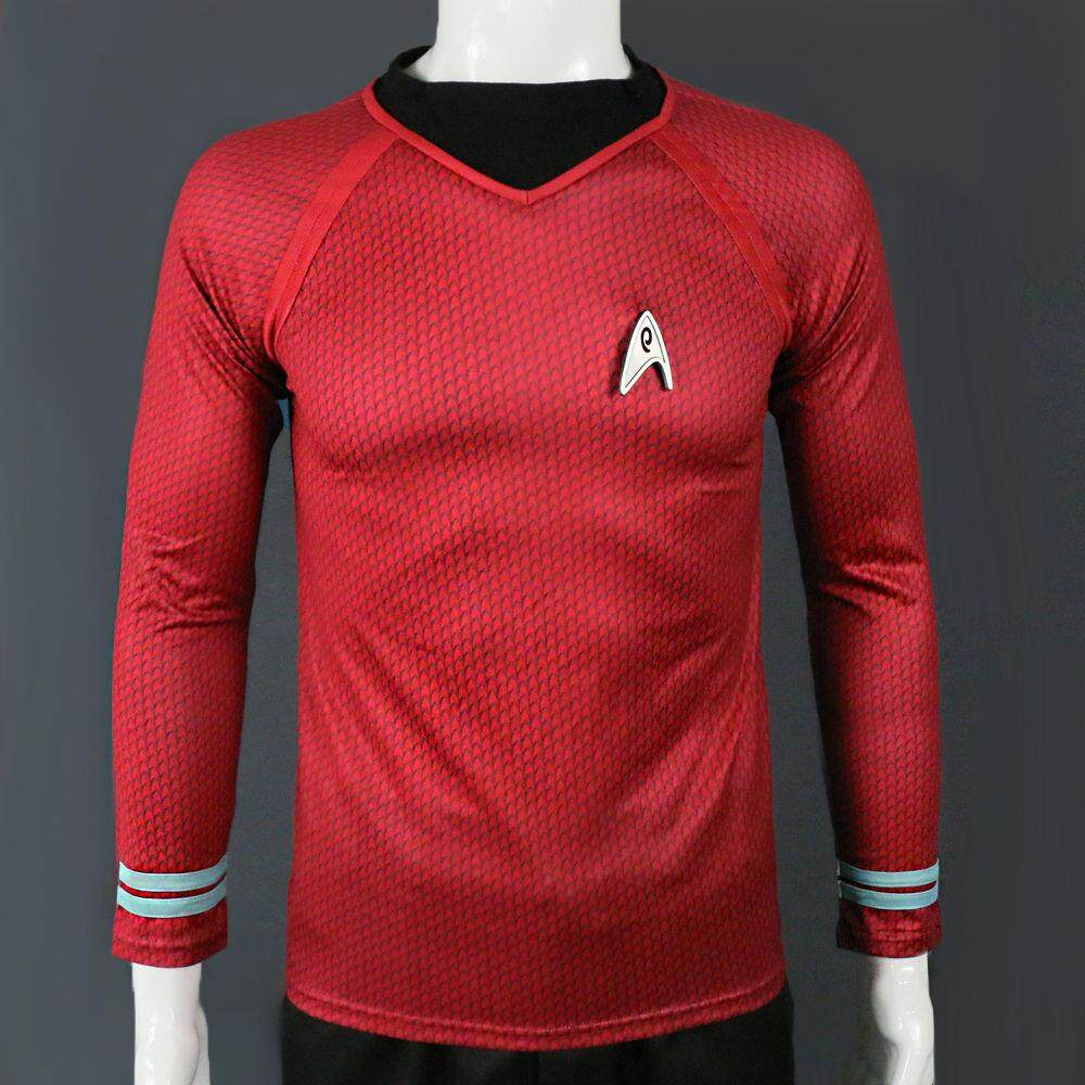 Star Trek in The Dark Captain Kirk Shirt Shape Cosplay Costume Red Blue And Yellow Man Uniform For Helloween Party