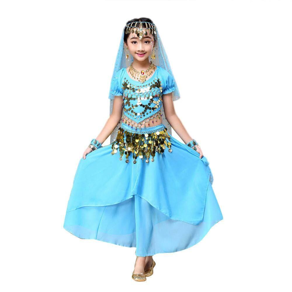 【Free Shipping】Kids 'Cô Gái Múa Bụng Bộ Trang Phục Trang Phục Ấn Độ Nhảy Dance Đầu + Váy