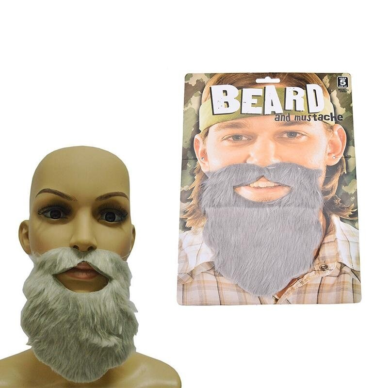 Funny Costume Party Male Man Halloween Beard Facial Hair Disguise Game Grey Mustache