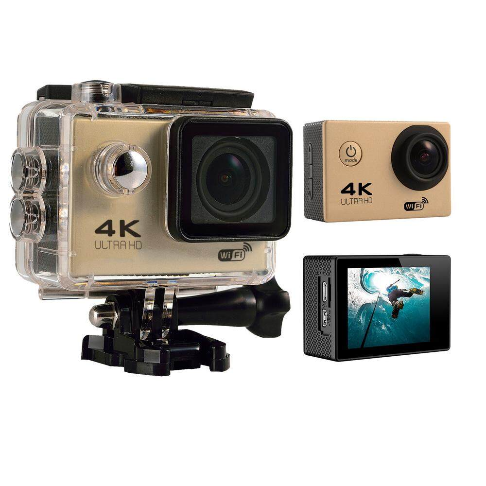 qooyonq 4K HD Wifi Action Camera 2.0 Inch 170 Degree Wide Angle Lens Action Camera WIFI 4k Waterproof Sports Action Camera (Gold) - intl