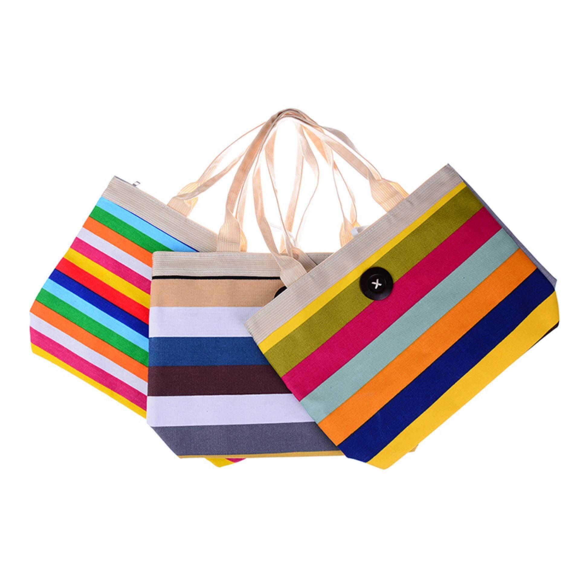Beach Bag Womens Girls Large Striped Summer Shoulder Shopper Tote Canvas Bags