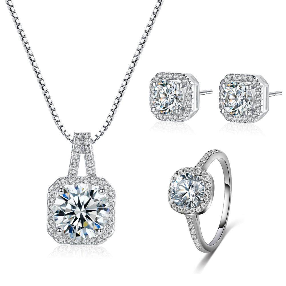 925 Sterling Silver Princess Cz Cubic Zirconia Womens Girls Ladies