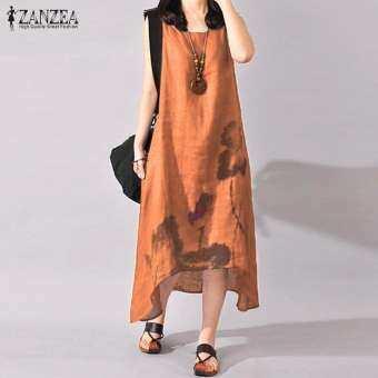 ZANZEA Plus Size S-5XL Women Sleeveless Loose Cotton Linen Summer Sundress A-line Tank Dress (Orange)