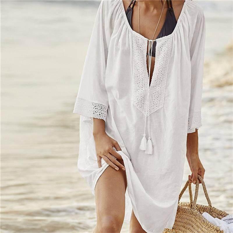 3fccd3f3e8 Women Swimsuit Cover Ups Sexy Kaftan Beach Tunic Dress 2018 Summer Robe De  Plage Solid Cotton