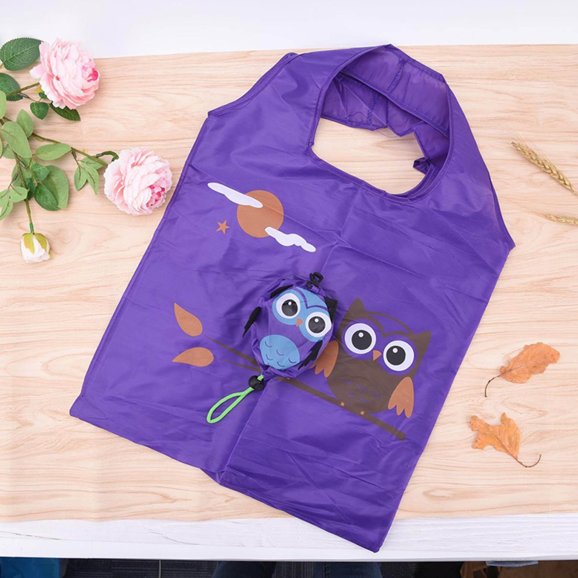 Handy handbag shoulder travel foldable recycle tote grocery storage shopping bag Purple - intl