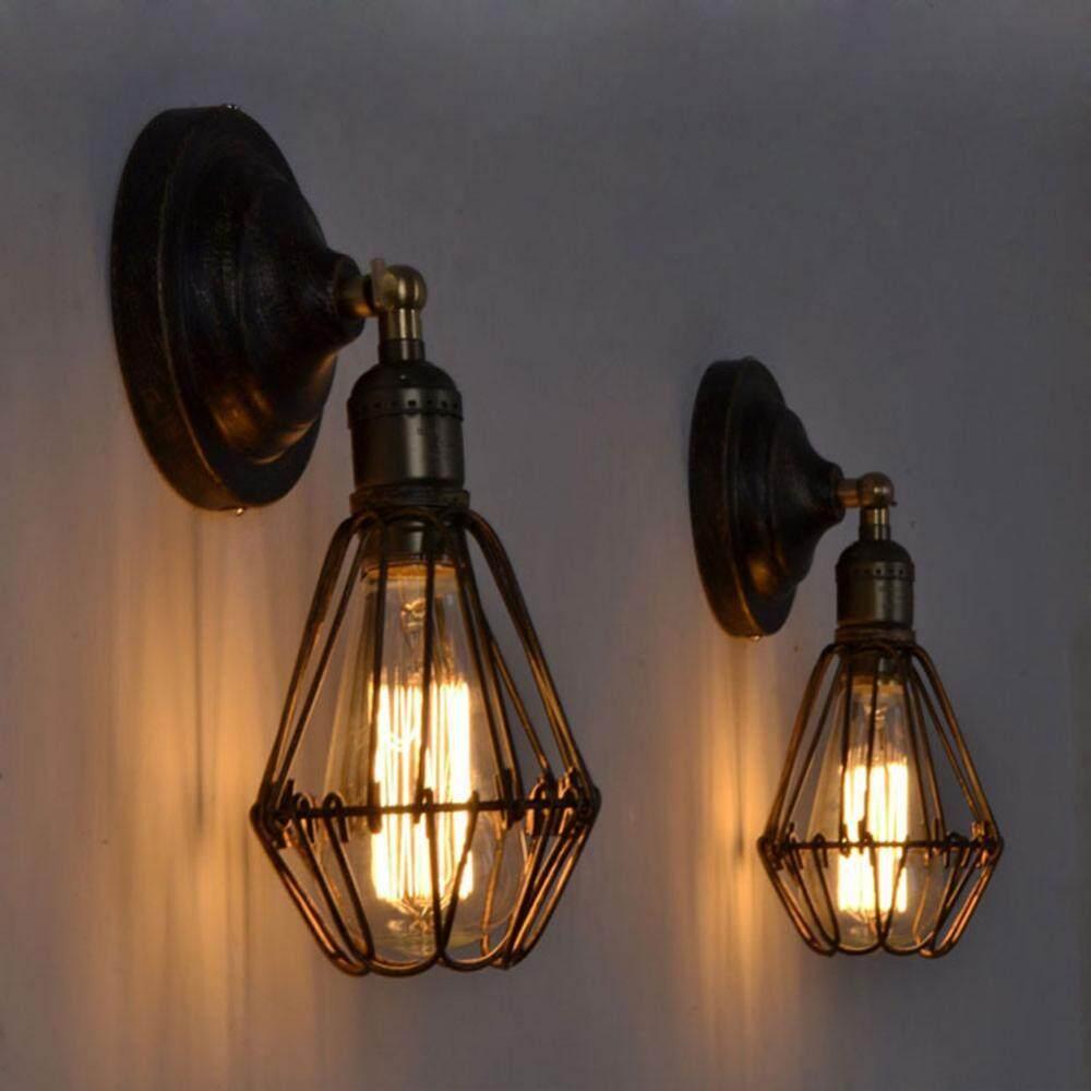 Vintage Wall Mounted Lamp Holder Home Cafe Shop Decorative Light Rack with E27 Light Socket