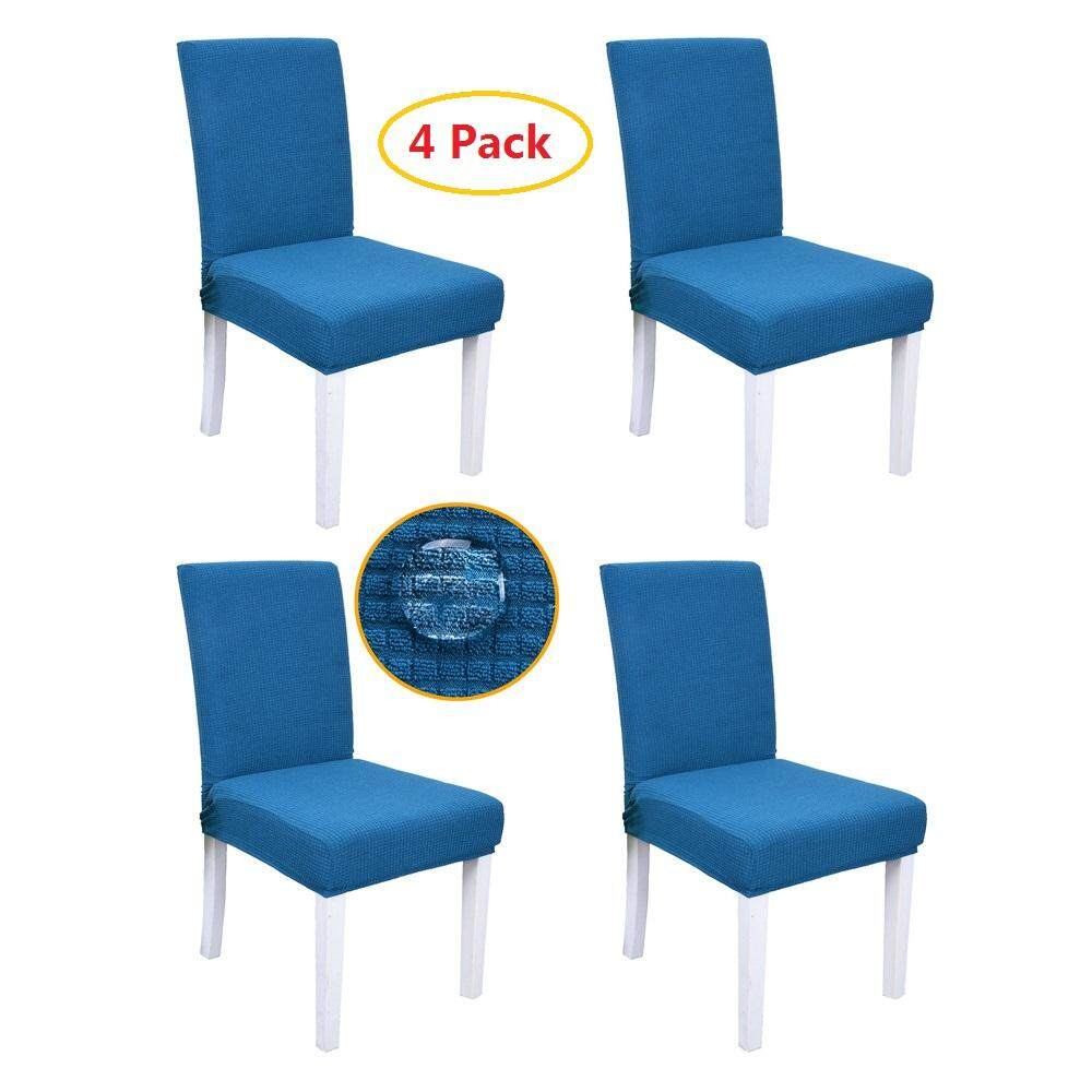 4 Pcs Fashion Jacquard Fabric Dining Room Chair Covers Spandex Soft Polar  Fleece Plaid Non-Slip Chair Slipcovers