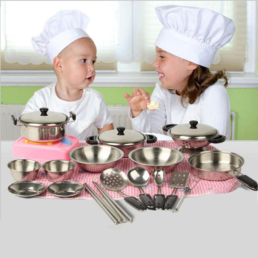 Fergusonshop-20Pcs Stainless Steel Pots Pans Cookware Miniature Toy Pretend Play Gift For Kid