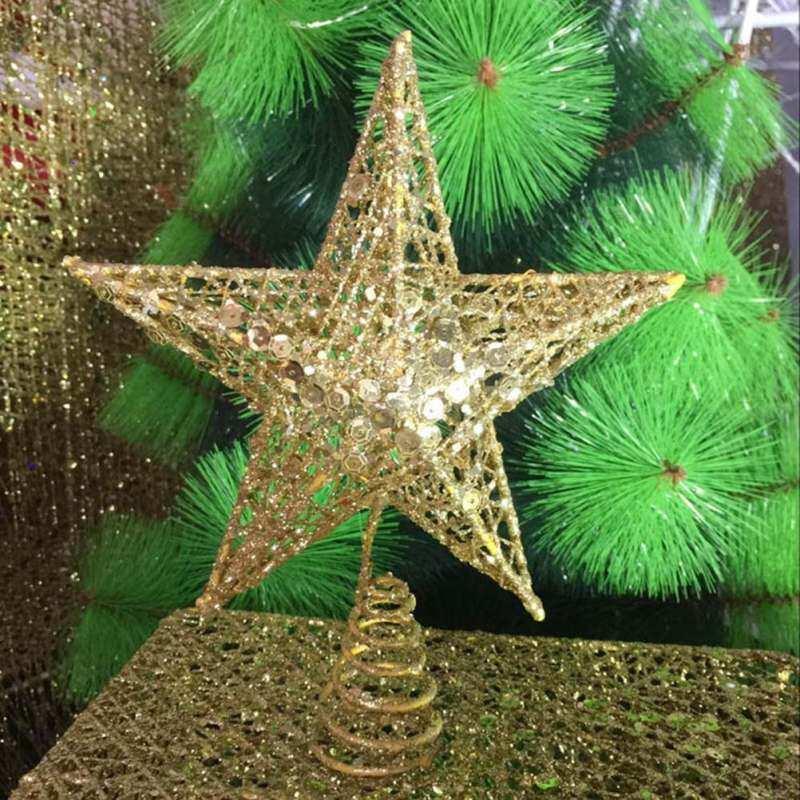Bintang Puncak Pohon Natal Glitter Emas Bintang Puncak Pohon 5 Titik Metal Natal Festival Bintang Puncak