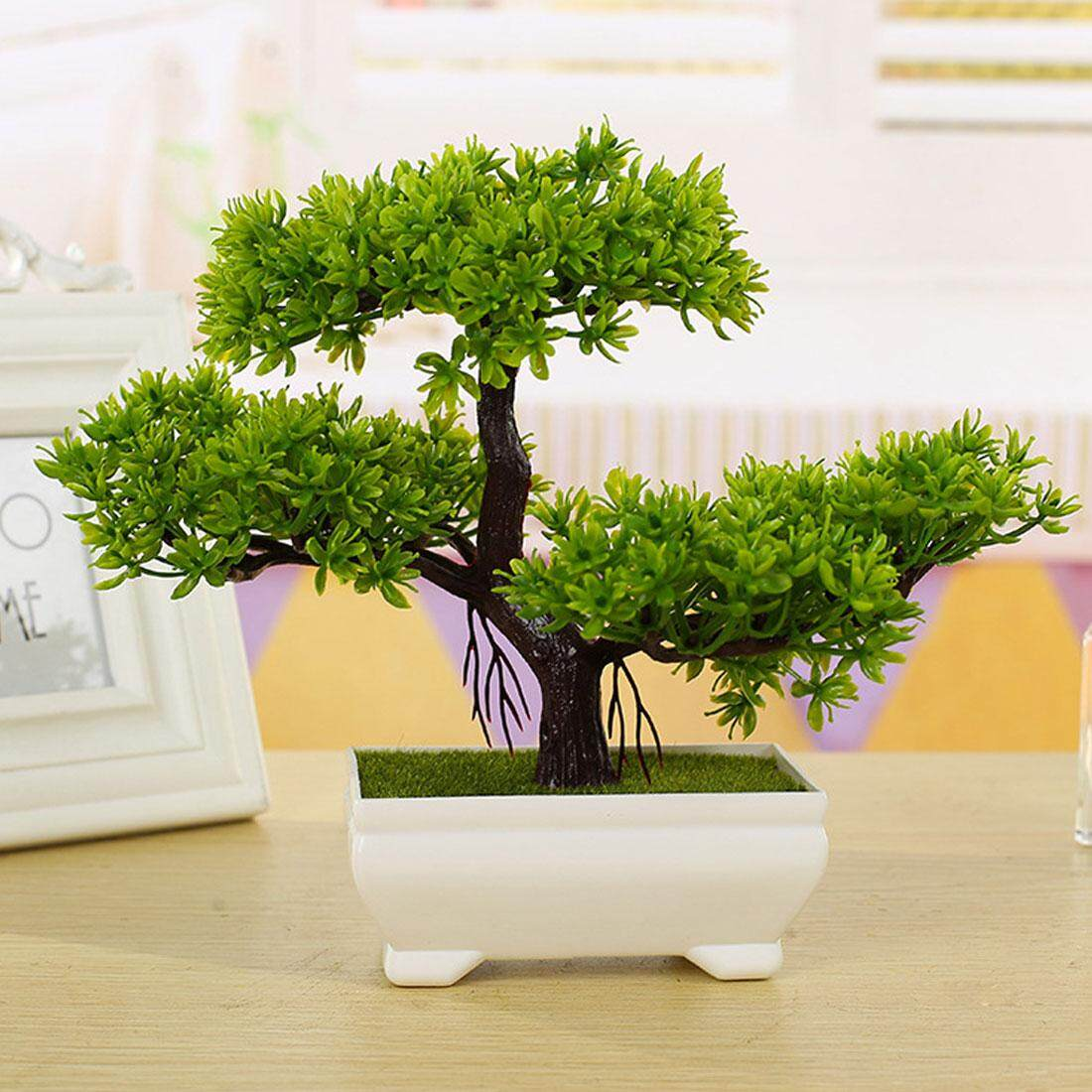 Mini Trigeminal Welcoming Pine Small Potted Artificial Flower Plants Small Bonsai For Home Festival Decoration Intl