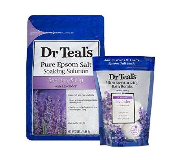 Buy Dr Teals Epsom Salt Soaking Solution and Ultra Moisturizing Bath Bombs with Pure Epsom Salt Lavender 3lb Bags and 4 Count Bag Singapore