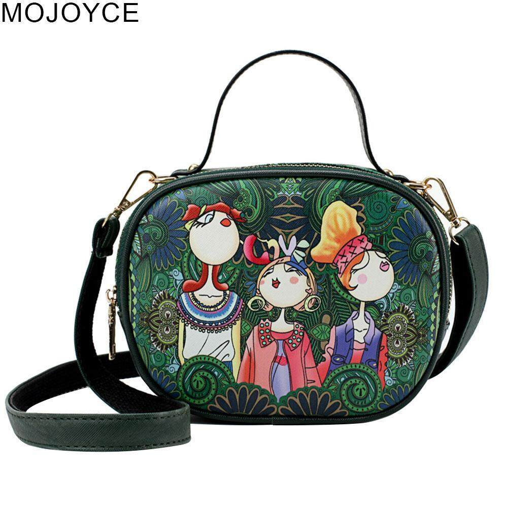 MOJOYCE Women Forest Green Cartoon Bag PU Leather Retro Messenger Shoulder Handbags Gifts
