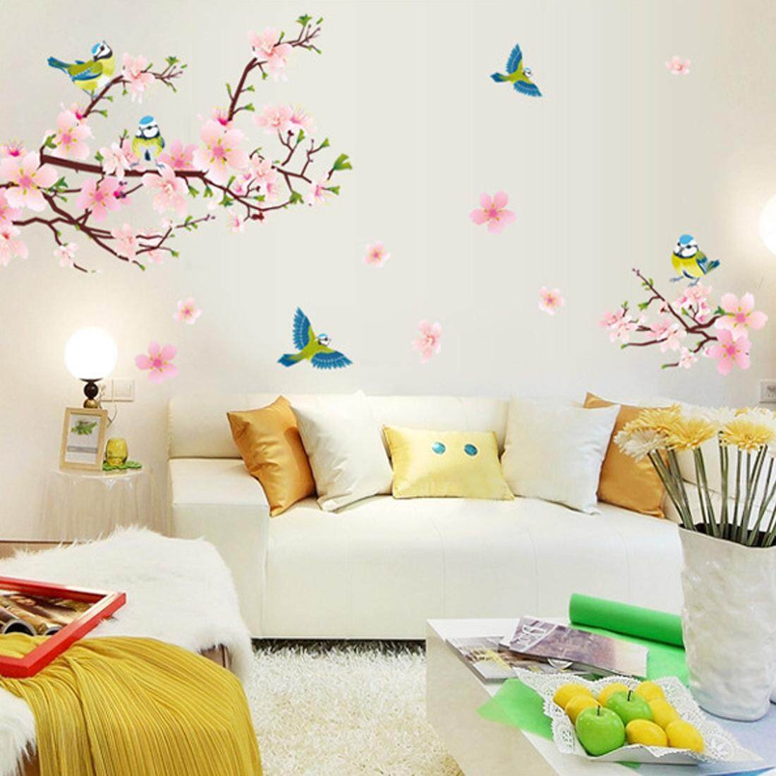 Pink Peach Flower Birds PVC Wall Decals DIY Home Sticker WallPaper Vinyl Wall arts Pictures Removable Murals For House Decoration Baby Living Rooms Bedroom Toilet