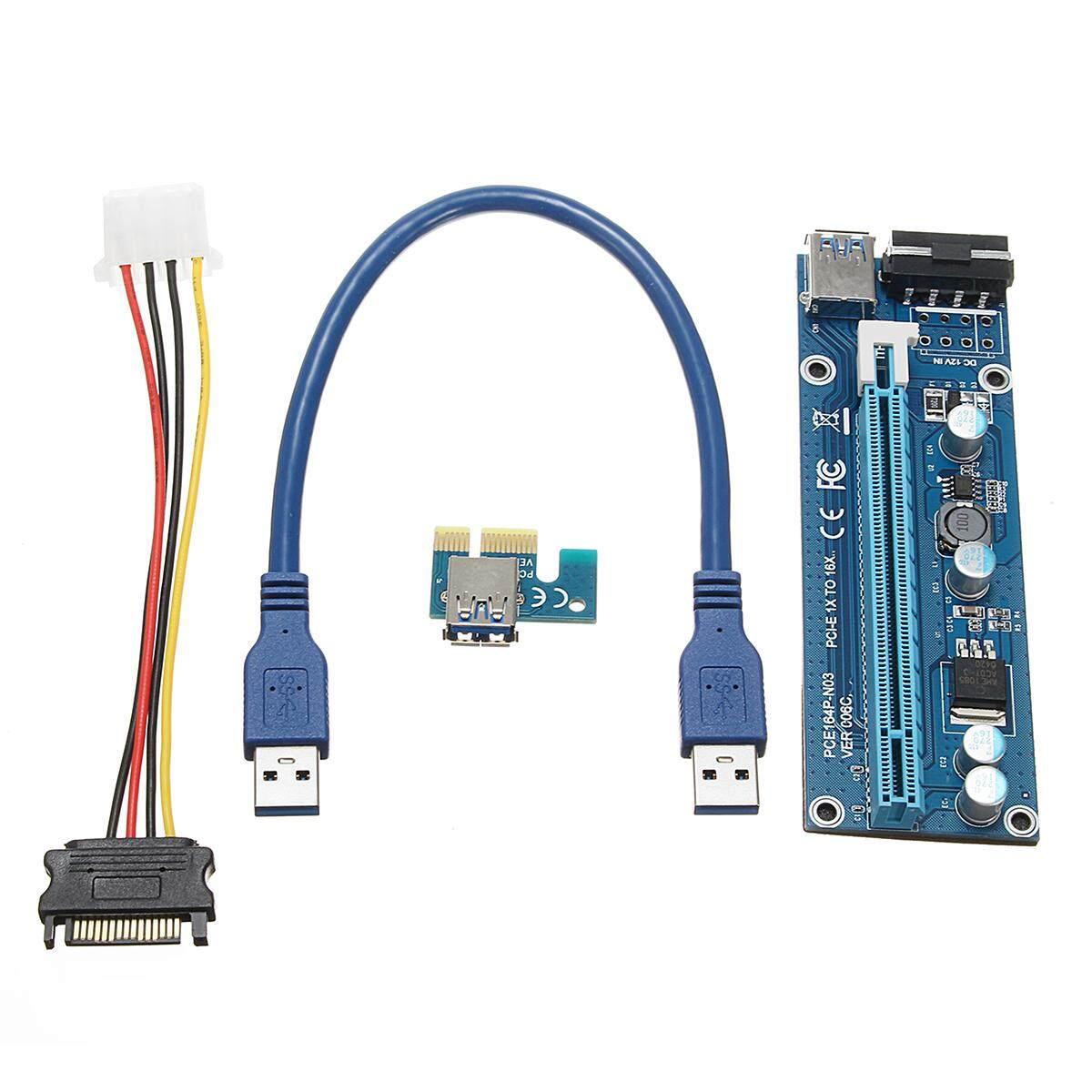 3pcs PCI-E Express USB3.0 1x to16x Extender Riser Card Adapter SATA Power Cable
