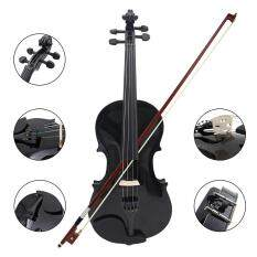 1/4 Size Violin Fiddle Basswood Steel String Arbor Bow For Beginners B5O5 Black – intl