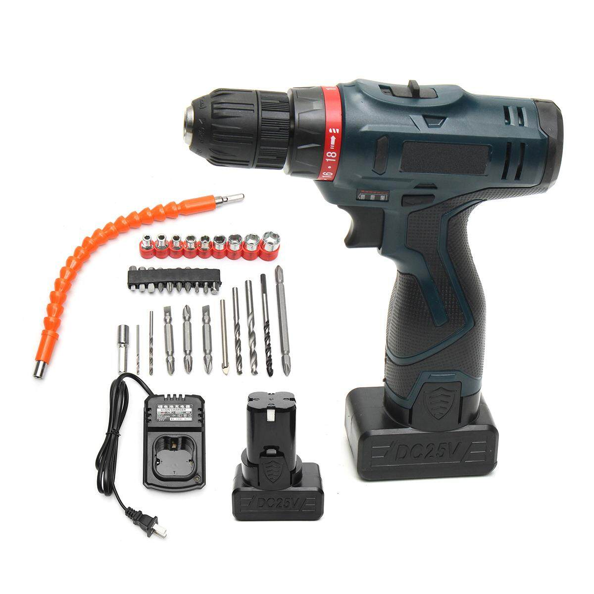 Impact Wrenches, 25V 2Battery Dual Speed Electric Power Drill Impact Cordless Screwdriver Driver Black