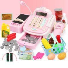 Child supermarket cash register toy girl play house simulation cart shopping cart baby cash register toy set
